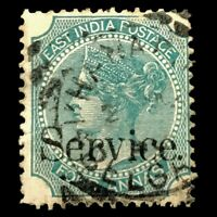 India GB Colonies 1866 4A Overprinted Service Queen Victoria WM 1 Service Stamp