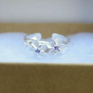 Hawaiian Hawaii Jewelry Scrolling Plumeria Center CZ Open Cut Toe Ring TR1184