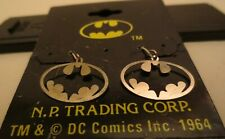 Vintage Licensed DC Comics Batman Oval Dangling Sterling Silver Earrings MOC