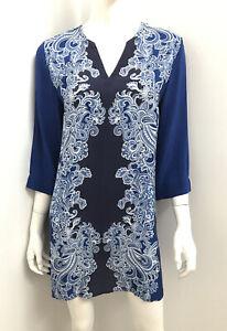 New! BLUE ILLUSION blue pure silk kaftan tunic -  Size XS