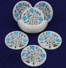 coasters set stone cup car 6pcs mat counterart marble inlay stones gems vintage