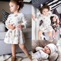 Toddler Kids Baby Girls Cartoon Floral Princess Party Dress Swing Short Outfit