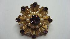 Gold Tone Metal with Purple Rhinestones & Pearls Coat Pin Brooch by Cora