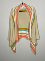 Sole Society One Size Cardigan Sweater Brown Pink Stripe Women's Wrap