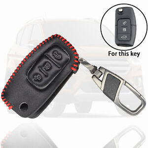 Leather Remote Key Fob Case 3 Button for Ford Fiesta Focus Mondeo CMax SMax Kuga