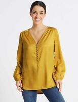 RRP £28, NEW M&S PER UNA Textured Satin V-Neck Long Sleeve Blouse