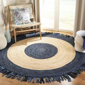 Rug 100% Natural Jute & Cotton Bohemian Reversible Round Area Carpet decor Rug