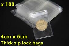 100pcs Extra Thick Clear Zip Lock Plastic Bag Reclosable Resealable 4x6cm Sydney