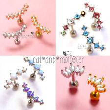 Opal Crystals Ear Climber Stud Thread Ring Bar Earrings Cartilage Helix Piercing