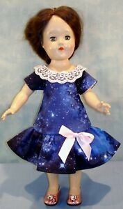 """1950s Ideal Toni Doll, 14"""" P-90 Hard Plastic, Green Eyes, Navy Galaxy Outfit"""