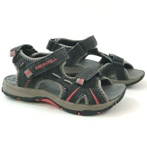 MERRELL Panther Boys 11C Sandals Leather Black Red