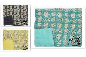 King Size Kantha Quilt Handmade Bedspread Cotton Indian Gudari Hippie Coverlet