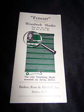 Antique Fyneart Woodweb Window Shades Advertising Brochure Pamphlet
