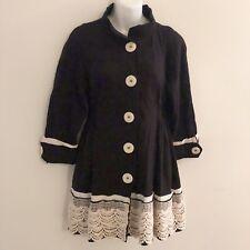 Anthropologie Aunt Wanda Black Coat Fit N Flare Peplum Lace Hem Womens XSmall XS