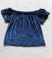 Georgous SIZE S (uk 8/10) Hollister Off the Shouder Blue Soft Velvet Top