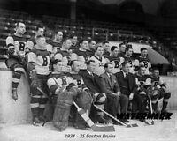 NHL 1934 - 35 Boston Bruins Team Photo Black & White 8 X 10 Photo Picture