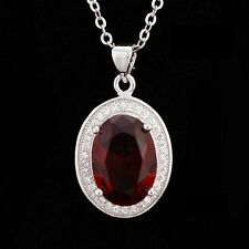 """18"""" 925 Sterling Silver Flame Red Oval Gemstones Garnet Necklace Pendant Box A25"""