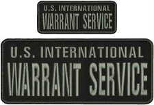 U.S. INTERNATIONAL WARRANT SERVICE embroidery patch 4x10 and 2x5hook on back  gr