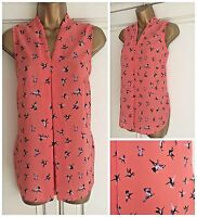 NEW EX GEORGE CORAL BLACK LILAC BIRD PRINT BLOUSE TOP SIZE 8 - 20