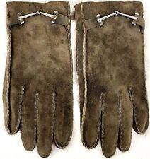 Vintage Gucci Sz 8 Rabbit Fur Lined Brown Suede Horsebit Gloves