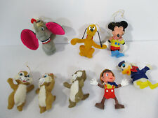 Disney Flocked Ornaments Dumbo Chip Dale Donald Pluto Vtg Christmas Set of 8