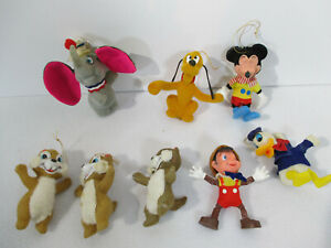 Ornaments Disney Flocked Mickey Dumbo Chip Dale Donald Pluto Vtg Christmas 8pcs