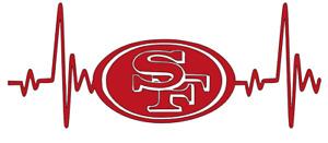 San Francisco 49ers NFL Football Heartbeat Car/Laptop/Cup Sticker Decal
