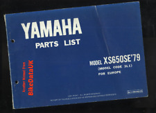 Yamaha XS650SE (1979 >>) Factory Parts List Catalogue Book Manual XS 650 SE BZ86