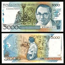 BRAZIL 5 CRUZADO NOVOS ON 5000 5,000 CRUZADOS 1989 UNC P 217a