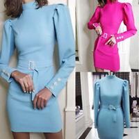 Puff Long Sleeve Women Turtleneck Fashion Belt Dress Back Zipper Party Dress