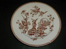 T. Elsmore Staffordshire BUTTERFLY FAN Brown Aesthetic Movement Plate 1878 (76F)