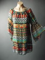 Sale 70s Gypsy Bohemian Moroccan Pattern Flared Bell Sleeve 69 mv Dress S M L XL
