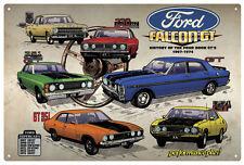 GT FALCONS '67-'74 HISTORY TIN SIGN 80x53cm. FALCON 4 DOOR GT'S HISTORY TIN SIGN