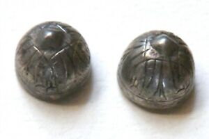 Bb Germanic Peasant SILVER Antique BUTTON Pair!! small
