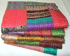 5 Pcs. Lot Handmade Vintage Gudri Pattola Silk Saree Ekat Bedcover Kantha Quilt