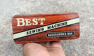 1950s VINTAGE BEST SEWING MACHINE ACCESSORIES LITHO TIN BOX