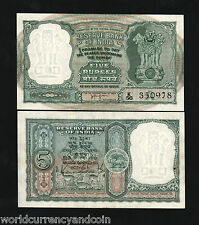 INDIA 5 RUPEES P35B 1957 ANTELOPE TIGER UNC HVRI WORLD CURRENCY MONEY BILL NOTE