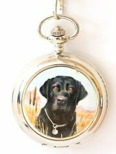 Black Labrador Pocket Watch Gift Boxed FREE ENGRAVING