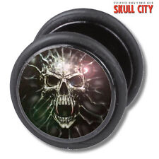 GHOST SKULL FAKEPLUG - Fake Piercing Picture Plug Ohrstecker Schmuck - Tattoo