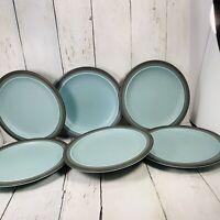 Six Salad Dessert Plates ARROW STONE Navajo Blue Stoneware Japan Kasuga Vtg