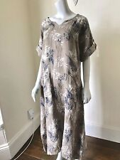 LAGENLOOK LMT Gorgeous Leaf Print Maxi Linen Dress UK 8 10 12 14 16 18 NEW