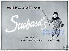 Suchard Schokolade Reklame von 1912 Milka Velma Karneval Fasching Clown Chinese