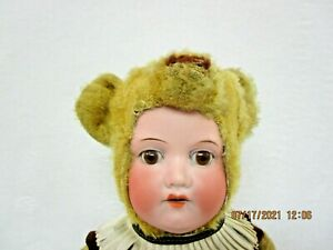 """Antique fully jointed straw stuffed gold mohair TEDDY BEAR 16"""" with bisque head"""