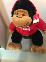 "DAN DEE ""WILD THING"" Black & Brown Gorilla/Monkey Plush with Red Hoodie"