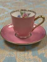 Vintage Bavaria Tirschenreuth Pink Floral Demitasse Teacup and Saucer