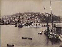 Philippeville Skikda Il Porto Algeria Vintage Albumina Ca 1880