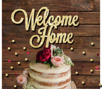 WELCOME HOME GLITTER CAKE TOPPER, BABY ARRIVAL, HOUSEWARMING, NEW HOME