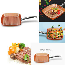 """9.5"""" Copper Square Frying Pans Non Stick Hard Wearing Ceramic Coating rust-proof"""