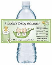 20 TWO PEAS IN A POD TWINS BABY SHOWER WATER BOTTLE LABELS ~ green