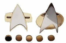 Star Trek Next Generation & Voyager COMMUNICATOR PINS & RANK PIP 7 Piece Set